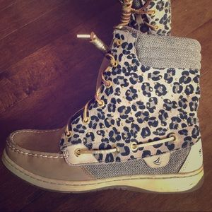 Cheetah print Sperry boots
